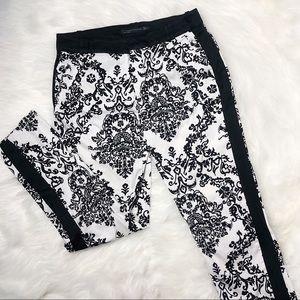 Zara Black and White Floral Print Trousers Pants